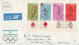 Enveloppe  1er  Jour    ISRAEL    JEUX   OLYMPIQUES     TOKYO    1964 - FDC