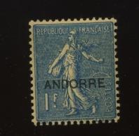 18 *  1F    Cote 46 €  Propre Charnière - Andorre Français