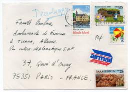 USA---Lettre  De NEW-YORK Pour PARIS(France)--Composition De Timbres--Valise Diplomatique Pour Tirana - Stati Uniti