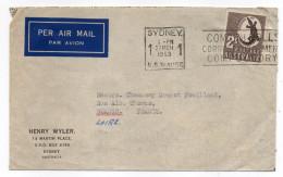 AUSTRALIE--1953-Lettre SYDNEY To ROANNE (France)-timbre Seul Sur Lettre-cachets-personnalisée Henry Wyler - 1952-65 Elizabeth II : Pre-Decimals