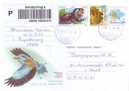 UKRAINE 2015. REGISTERED LETTER. Postal Stationery Cover Franked By Stamp Mi-Nr. 333 Lucanus Cervus - Insectes