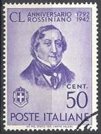 Italia, 1942 Gioacchino Rossini  50c Violetto # Michel 640 - Yvert & T. 448 - Scott 424 - Sassone 467 - USATO - Usati