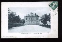 91 Essonne Mereville 2 La Mairie Le Mail Roulleau 1914 Coin Sup Droit Plié - Mereville