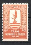 Reklamemarke Budapest, Targ International La Budapest 1931, Messelogo, Orange - Erinofilia