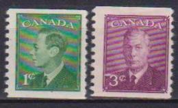 CANADA 1950 ORDINARIA EFFIGE DI GIORGIO VI Dent.9 1/2 VERTICALE YVERT. 231a-233a  MLH VF - Nuovi