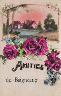 33) BAIGNEAUX - AMITIÉS  - (CARTE FANTAISIE - PAYSAGE AVEC FLEURS) - France