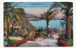 (RECTO / VERSO) MONTE CARLO EN 1930 - N° 111 - ECHAPPEE SUR LA MER VERS ROQUEBRUNE - BEAU CACHET - CPA - Monte-Carlo