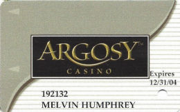 Argosy Casino Riverside, MO - Slot Card - Reverse Text UNDER Signature Strip - Casinokaarten