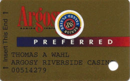 Argosy Casino Riverside, MO - Slot Card With Web Address & Gambling Problem# - Senior Sticker - Casino Cards