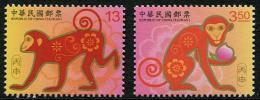 TAIWAN 2015 - Nouvelle Année Calendrier Chinois, Année Du Singe - 2 Val Neuf // Mnh - 1945-... République De Chine