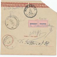 520/24 - Chèque Postal Assignation MEULEBEKE Et /ou MERELBEKE 1945 - Etiquette Onbekend / Inconnu - Documents Of Postal Services