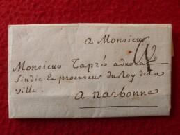 LAC MARQUE P COURONNE NOIRE LETTRE AUTOGRAPHE CLAUDE LESENESCHAL 1772 A LIRE - Postmark Collection (Covers)
