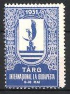 Reklamemarke Budapest, Târg International 1931, Messelogo, Blau - Erinofilia
