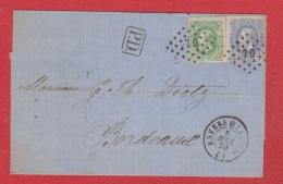 Env De Anvers  --  Pour Bordeaux   --  8 Avril 1870 - Postmarks - Points