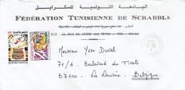 Lettre à En-tête De La Fédération Tunisienne De Scrabble Vers La Louvière, Belgique 1986 - Tunisie (1956-...)
