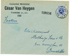 535/24 - Lettre TP Lion Héraldique GENT - Griffe D' Origine TEMSCHE - Entete Vannerie Moderne Van Heygen - Poststempel