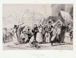 1843 - Lithographie - Robert-Fleury - La Procession De La Ligue - FRANCO DE PORT - Estampes & Gravures