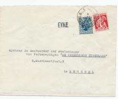 537/24 - Lettre TP Cérès Et Lion Héraldique AMBULANT POPERINGHE-BRUSSEL 1934  - Griffe D´Origine EYNE - Poststempel