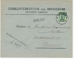 540/24 - Lettre TP Petit Sceau THIENEN 1936 - Griffe D´Origine BORGLOON - Demi-Tarif Communal Entete Gemeente BROUCKOM - Poststempel