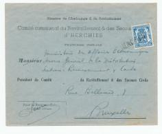 541/24 - Lettre TP Petit Sceau Annulation De FORTUNE Par Griffe D´Origine HERCHIES - Demi-Tarif Communal - Poststempel