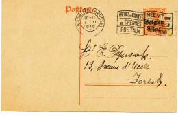 543/24 - INCROYABLE EMPLOI ACCEPTE PAR LA POSTE Et TRES TARDIF - Entier Postal Germania BRUXELLES 7 XI 1919 - Postcards [1909-34]