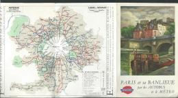 Plan De Metro Paris , + AUTOBUS Banlieue De 1959 - Pb103 - Maps