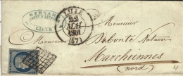 1851- Enveloppe De LILLE ( Nord ) Cad T13 Affr. N° 4  ( 4 Marges ) Oblit. Grille  - SUPERBE - 1849-1876: Classic Period