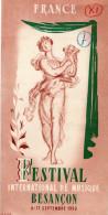 25 - BESANCON - DEPLIANT TOURISTIQUE -FESTIVAL MUSIQUE SEPTEMBRE 1950- EUTERPE- - Dépliants Touristiques