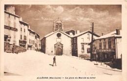 CPA 43 ALLEGRE LA PLACE DU MARCHE EN HIVER (cliché Pas Courant - France