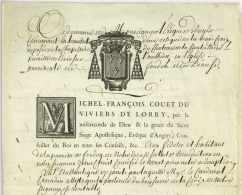 M.F. COUET DU VIVIERS DE LORRY (1727-1803) - Eveque D'ANGERS + Certificat De Reliques FRASCATI 1733 - Documents Historiques