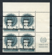United Nations New York, 1952, 1.5c Precancel Margin Block Of 4, MNH, Genuine Letterpress Overprint, Gaines #2A ($ 1350) - New York - Sede Centrale Delle NU