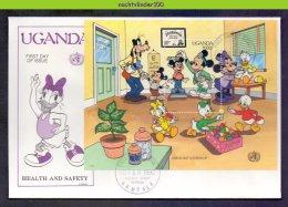 Ncs4542b WALT DISNEY DOCTOR´S VISIT LOLLIPOPS CHECKING HEALTH GOOFY MICKEY EXERCISING UGANDA 1990 FDC - Disney