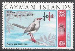Cayman Islands. 1969 Decimal Overprints. ¼c On ¼d MH. SG 238 - Cayman Islands