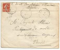 AMBULANT DE  CHOLET A NANTES SUR LETTRE DU 22/11/1911 - Marcophilie (Lettres)
