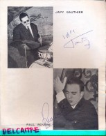 Handtekening Autographe Jazz - Drums Japy Gauthier & Bas Paul Rovere  - Page Programme - - Autographs