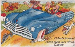 CARTE à SYSTEME Petit Format De CAEN  - Bolide Bleu Avec Un Homme Et 2 Femmes Avec 10 Vues De CAEN     //  TBE - Caen