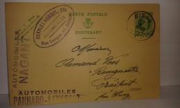 Entier Postal Avec Pub Automobiles Panhard-Levassor - Pub Automobiles Nagant Et Charles Hommel à Dison .. Lot 757 - Publicidad