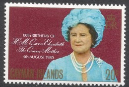 Cayman Islands. 1980 80th Birthday Of The Queen Mother. 20c MH. SG 506 - Cayman Islands