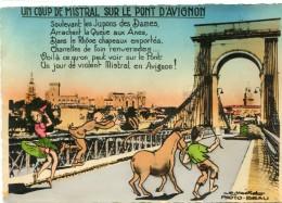 CPSM 84 AVIGNON UN COUP DE MISTRAL SUR LE PONT D AVIGNON 1947 Grand Format 15 X 10,5 - Avignon