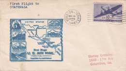 USA 1946 - First Flight To GUATEMALA, 10 C Flugpostmarke Auf Cover, Stempel Housten Texas Nach Guatemala - Guatemala