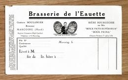 Ancienne Facture Lettre, Brasserie De L' Eauette, Bière Bourgeoise, BOULANGER, MARCOING, Nord - Alimentare