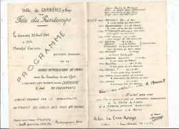 G-I-E , Programme , Ville De CARRIERES SUR SEINE , Fête Du Printemps , 1949 , Marché Carnot , 2 Scans - Programmes