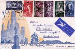 SÜDAFRIKA 1952 - 6 Fach Sondermarken Frankierung + Vignette Auf LP-Brief Gel.v.SWA Nach Meldorf - Südafrika (...-1961)