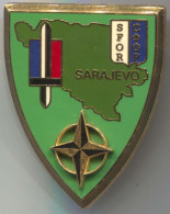 SFOR (France) - Sarajevo, Bosnia & Herzegovina, Army, Military, Enamel, Vintage Pin, Badge, Big Insignia, 50x40mm - Militaria