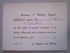 Invitation Pour Une Soirée Musicale  Chez Mr Et Mme DEULLY  9, Impasse Du Maine à PARIS - Faire-part