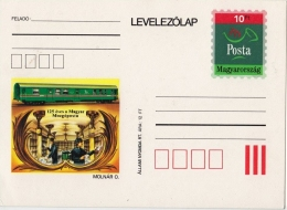 TPO Travelling Post Office / 1993 Hungary - 125th Anniv. Railway Mail Service - Bahnpost - TRAIN / STATIONERY Postcard - Poste