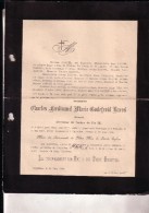 KAPPELLEN CAPPELLEN Charles BAREEL Avocat Chevalier Ordre Pape Pie IX 1837-1894 Doodsbrief PARIDANT DIEPEN - Obituary Notices