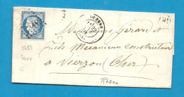 Rhone - St MARTIN EN HAUT Pour VIERZON (Cher). GC + CàD Type 17 De DUERNE - Marcophilie (Lettres)