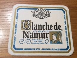 """Sous-bock """"Blanche De Namur  - Reine De SUÈDE 1336 1363 - BRASSERIE DU BOCQ"""" Dos Nu - Sous-bocks"""