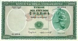 TIMOR - 1000 ESCUDOS - 21.3.1968 - P 30 - Sign. 8 - REGULO D. ALEIXO - PORTUGAL - 2 Scans - Timor